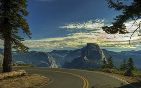 Picture mountains, stones, open, tree, Road, turn