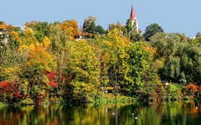 Picture autumn, trees, birds, river, tower, Switzerland