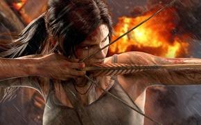 Picture chest, girl, the explosion, rain, fire, blood, bow, dirt, Tomb Raider, Lara Croft, Square Enix, …