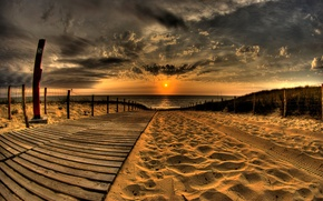 Picture sand, sea, the sky, clouds, sunset, the fence, hdr, track