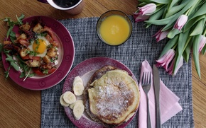 Wallpaper flowers, pancakes, scrambled eggs, Breakfast, juice, tulips