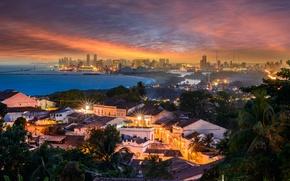 Picture sea, sunset, bridge, lake, port, Brazil, Recife, Olinda