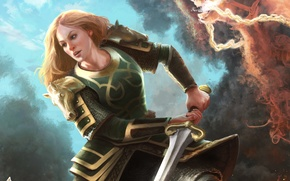 Picture girl, sword, the Lord of the rings, art, battle, lord of the rings, Eowyn, Eowyn