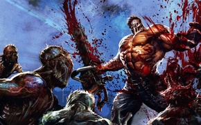Wallpaper monsters, mask, maniac, zombies, people, blood, Splatterhouse, chainsaw