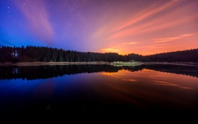 Picture the sky, water, stars, trees, landscape, nature, lake, reflection, beauty