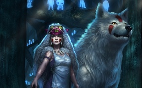 Picture look, art, wolf, anime, Princess Mononoke, girl, skin, forest