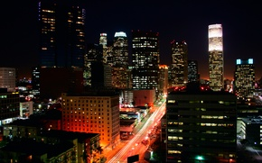 Wallpaper lights, building, Los Angeles, night, Los Angeles
