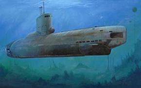 Picture war, art, painting, ww2, submarine, U-Boot-class XXIII