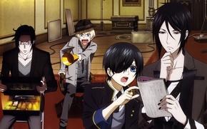 Picture hat, glasses, Anime, guys, ring, anime, dark Butler, Kuroshitsuji, Alois Trancy, Sebastian Michaelis, Ciel Phantomhive, …