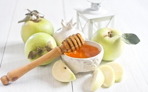 Picture apples, honey, still life