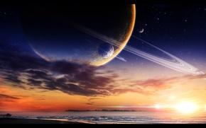Picture sea, sunset, planet, pier, pierce