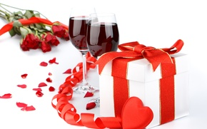 Wallpaper Wine, Tape, Holidays, Gifts, Valentine's day, Food, photo, Heart, Glasses