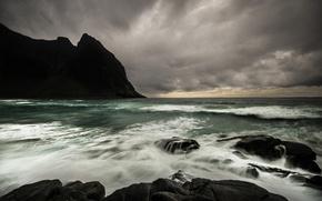 Wallpaper sea, mountains, clouds, rocks, Norway
