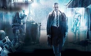Picture fiction, rain, robots, lane, Antonio Banderas, Antonio Banderas, Automata, The insurer