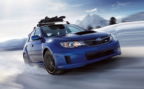 Picture the sky, snow, blue, Subaru, Impreza, WRX, STI, Subaru, Impreza, the front