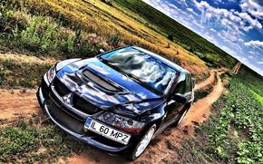 Picture HDR, Field, Road, Blue, Sport, Day, Mitsubishi, Lancer, Evolution, The view from the top, Evo, …