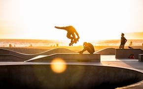 Picture sea, beach, the sun, Park, skateboarding, extreme sports, skateboards