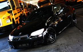 Picture black, bmw, BMW, black, 335i, headlights, school bus, view speedy