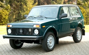 Picture forest, jeep, SUV, green, Lada, the front, Lada, 4x4, Niva, Export Edition