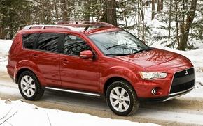 Picture Red, Winter, Road, Japan, Snow, Wallpaper, Mitsubishi, Jeep, Japan, SUV, Mitsubishi, US-Spec, Outlander, Outlander