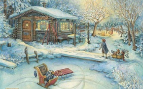 Picture children, holiday, village, house, Who Jacobs, sled