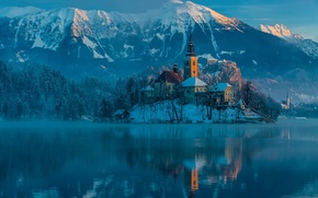 Wallpaper winter, mountains, morning, Slovenia, January, bled, The Julian Alps, Bled lake