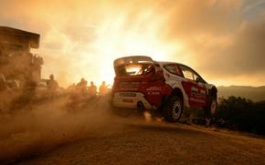 Picture sunset, background, Ford, flight, car, WRC, Rally, Evgeny Novikov