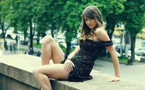 Picture look, girl, trees, street, dress, legs, julia i