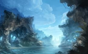 Picture clouds, river, rocks, painted landscape