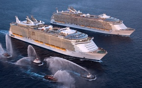 Picture Sea, Liner, The ship, Oasis of the Seas, Passenger, Meeting, Tugs, On The Go, Allure ...