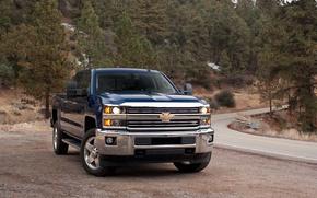 Picture Road, Chevrolet, Forest, Machine, Car, Road, Pickup, Chevrolet, Silverado