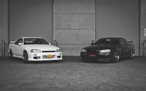 Picture Nissan, white, GT-R, black, skyline, R34