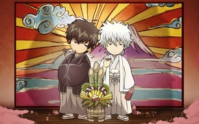 Picture bamboo, petals, two, the ceremony, gintama, Fuji, sakata gintoki, Gintama, hijikata toushirou, sake, silver soul
