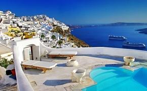 Picture sea, ship, island, Santorini, Greece