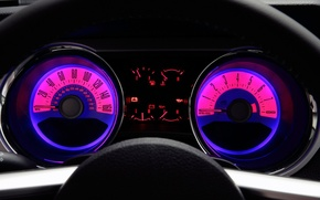 Wallpaper devices, Speed, Speedometer, Mustang, The wheel, 2011 Ford Mustang GT