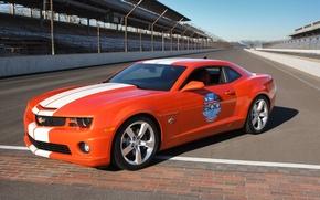 Picture orange, track, Chevrolet Camaro SS