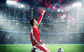 Picture The ball, Sport, Football, Male, Uniform, Lawn