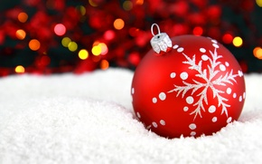 Picture snow, red, pattern, toy, ball, New Year, Christmas, Christmas, snowflake, bokeh, New Year, Christmas, Christmas