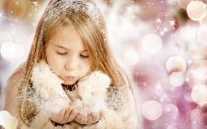Wallpaper snow, merry christmas, children, child, child, enjoy, beautiful girl, beautiful little girl, children, snow, enjoy, ...