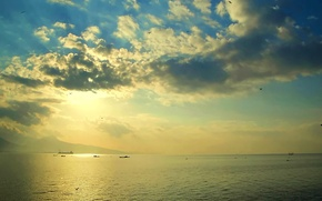 Picture sea, the sky, clouds, the evening