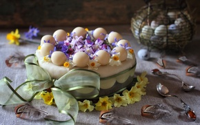 Wallpaper flowers, cake, feathers, Primula, eggs, bow, spoon, spring