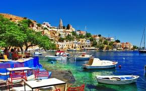 Picture the city, coast, island, Greece, sea, shore, holiday, Greece, Symi Island