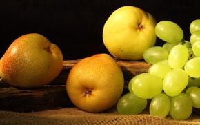 Wallpaper yellow, grapes, fruit, pear, fruit, grapes, pears