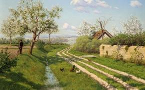 Wallpaper picture, chickens, roadside, road, trees, Boris Bessonov, roof, village, house, flowering, landscape, grass, spring