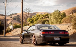 Picture black, nissan, drives, Nissan, tuning, 200sx, s14