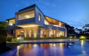 Picture light, lights, Villa, the evening, pool