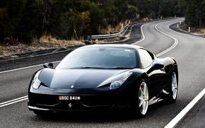 Picture road, black, Ferrari, Italy, Ferrari, supercar, 458, italia, the front