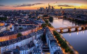 Picture bridge, the city, lights, river, the evening, Germany, Frankfurt am main