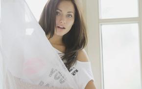 Picture eyes, girl, sexy, romance, angel, brunette, window, beauty, model, gentle, x-art, mila k, Michaela Isizzu