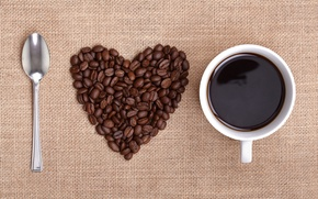 Picture heart, coffee, grain, spoon, Cup, i love coffee